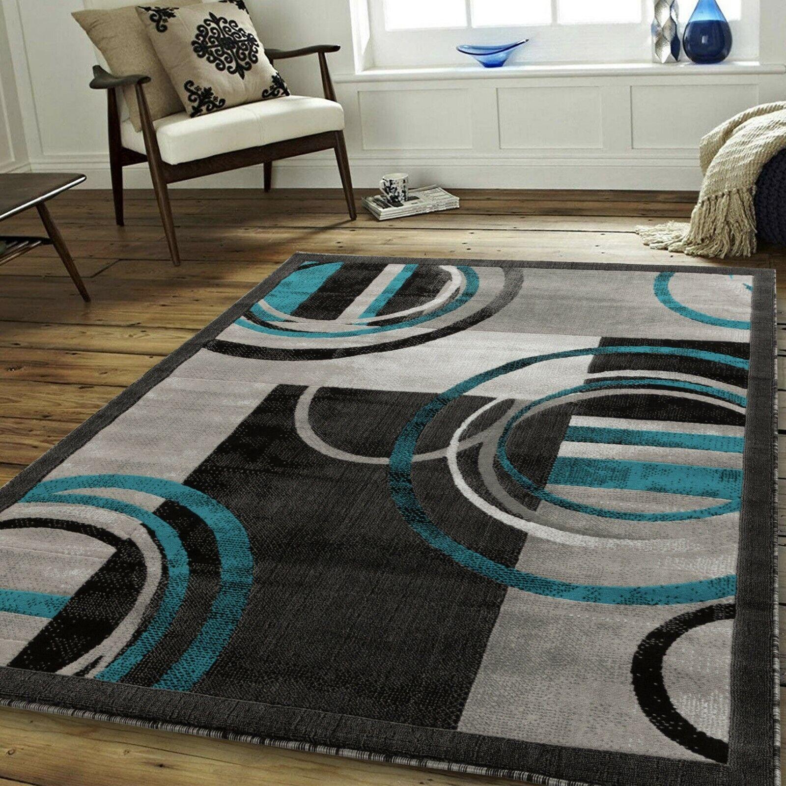 Area rug Newprt #53 Modern blue gray soft pile size option 2