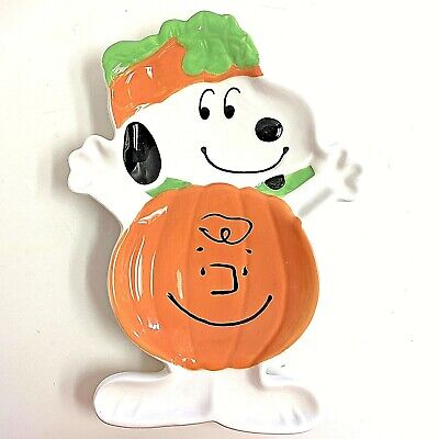 Peanuts Snoopy Charlie Brown Ceramic Halloween Pumpkin Candy Plate Dish Bowl - Charlie Brown Halloween Plates