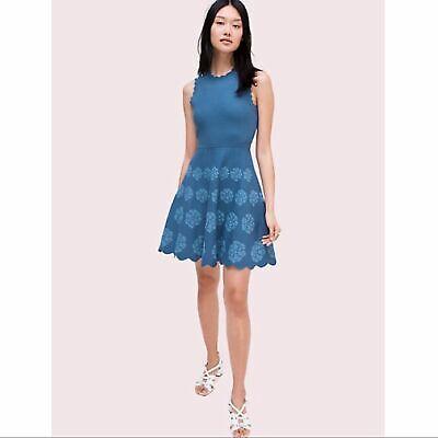 Kate Spade Blue Flora Hem Sweater Dress Size S NJMUA409 $398