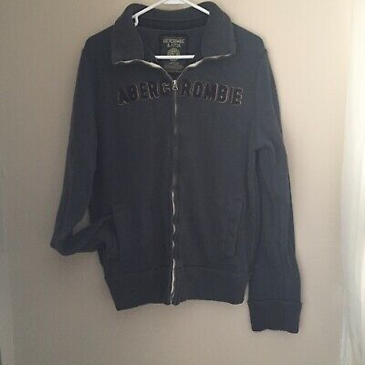 Navy Blue Abercrombie & Fitch Men's Vintage Zip-up Distressed Sweatshirt Sz L for sale  Shipping to Canada