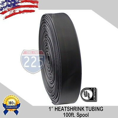 1 100 Ft. 100 Feet Black 25mm Polyolefin 21 Heat Shrink Tubing Tube Cable Us