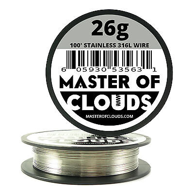SS 316L - 100 ft. 26 Gauge AWG Stainless Steel Resistance Wire 0.40 mm 26g 100'