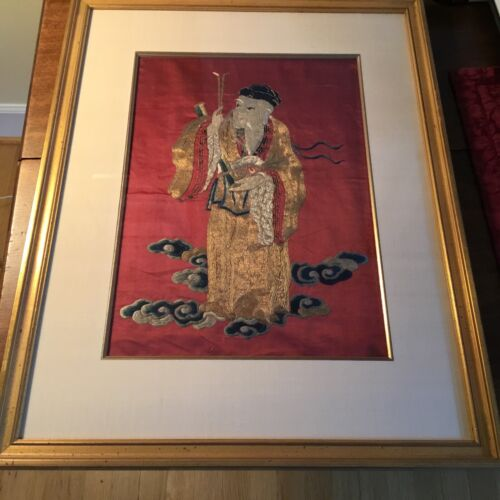 Chinese Silk embroidered Panel of the immortals.