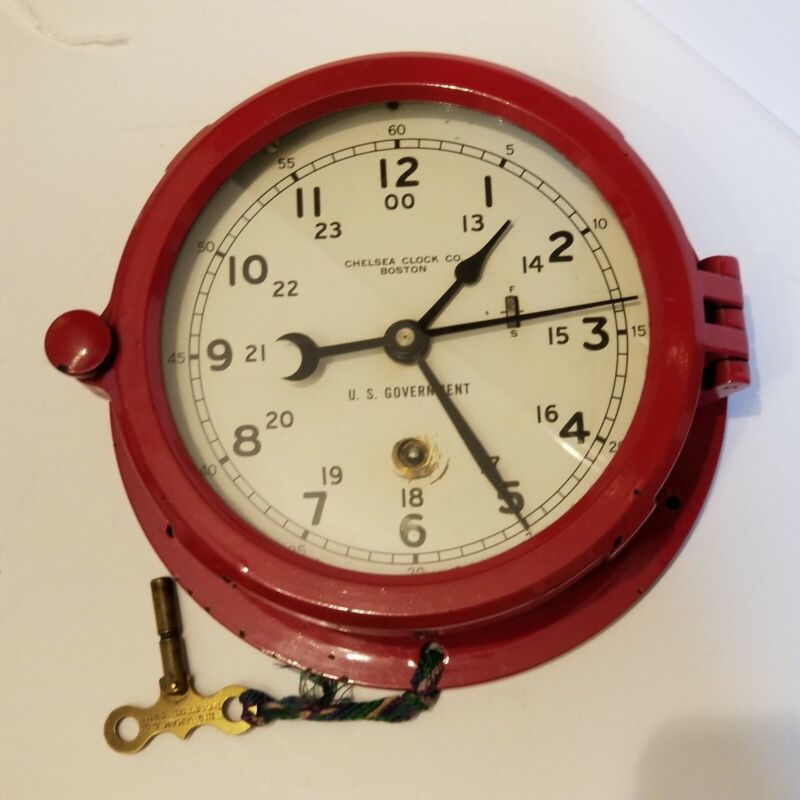 Chelsea Phenolic Painted Red Case 8 Day Wall Clock, 1965