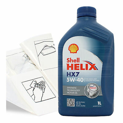 Engine Oil Top Up 1 LITRE Shell Helix HX7 5w-40 1L +Gloves,Wipes,Funnel