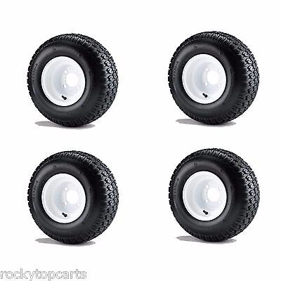 """Golf Cart 18x8.50-8 6 Ply Traction Tires mounted on 8"""" White Wheels Set of 4"""