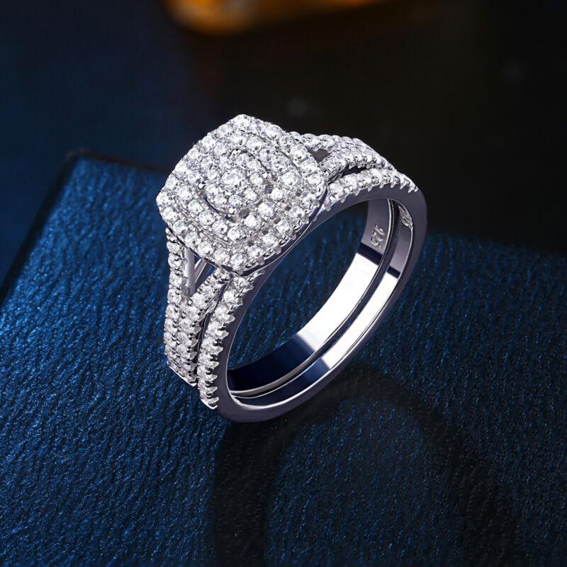 Newshe Flower Wedding Engagement Ring Set For Women Halo 925 Sterling Silver Cz