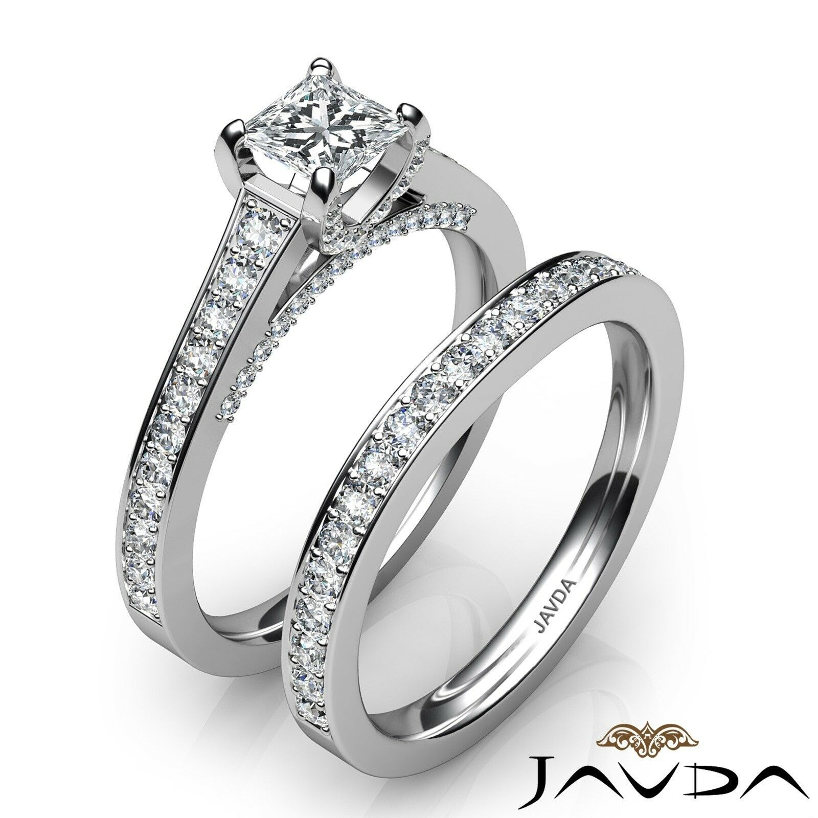 2.05ct Accent Bridge Pave Bridal Princess Diamond Engagement Ring GIA F-VS2 Gold 2