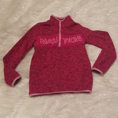 Nautica pullover sweater girls 6x knit crochet fuchsia half zip sweatshirt kids