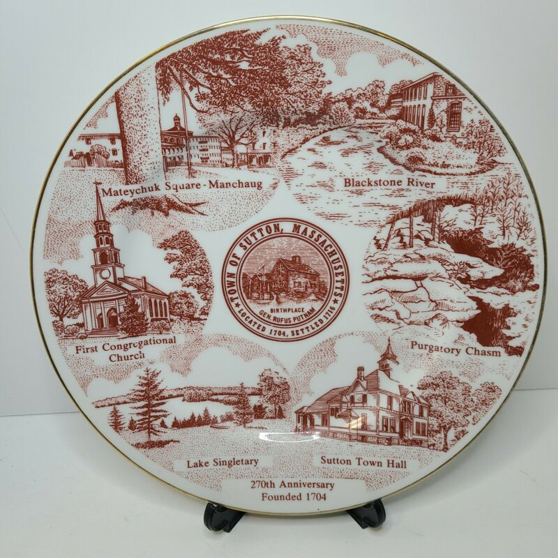 Sutton Massachusetts Souvenir Plate Vintage 270th Anniversary Founded 1704 Red