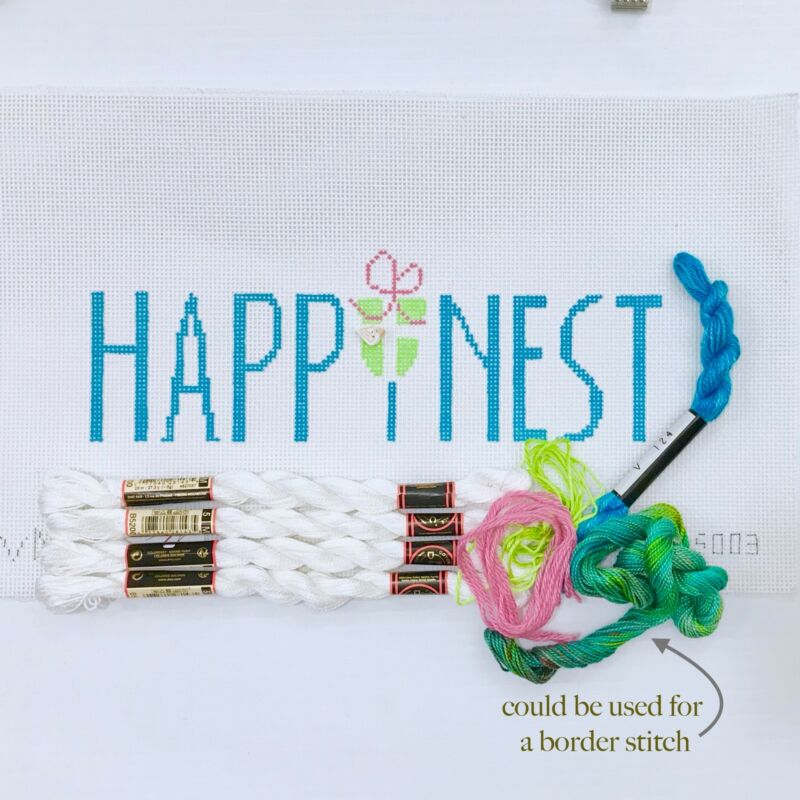 Handpainted Needlepoint Canvas KIT Valerie Needlepoint Happinest happy home
