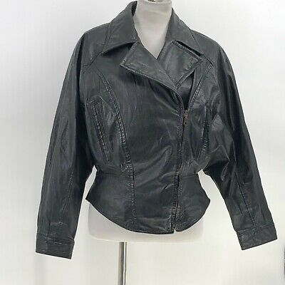 Wilsons Leather Jacket Womens Size M Medium Black Asymmetrical   for sale  Shipping to India
