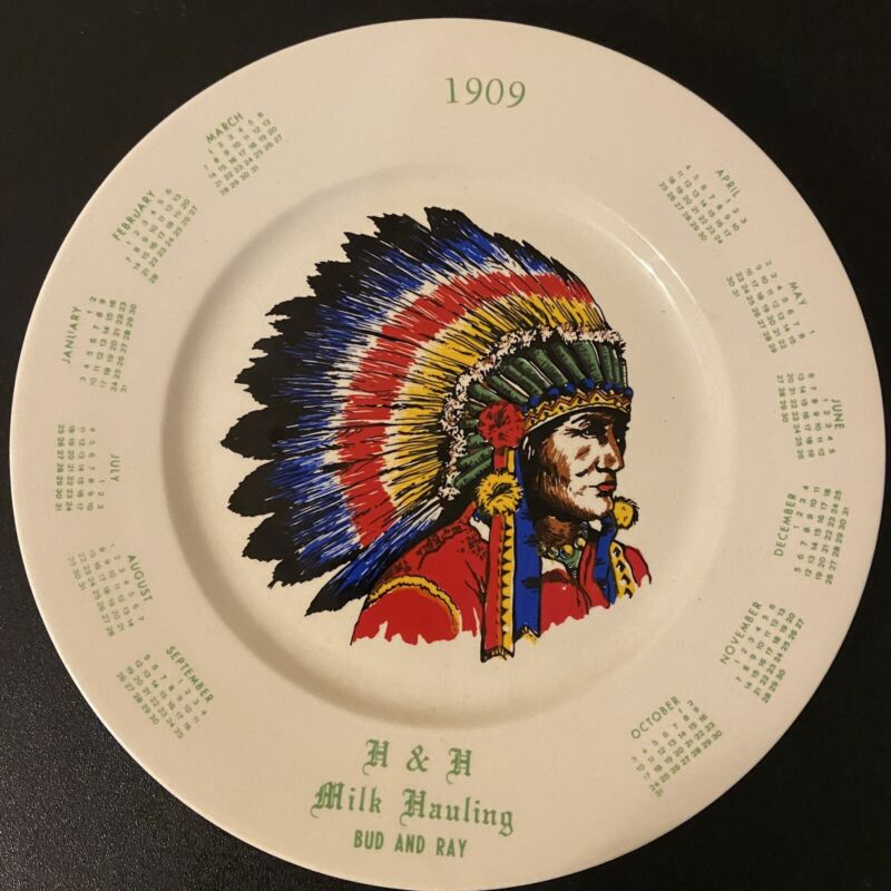 1909 H&H Milk Hauling Advertising Plate Bud & Ray Indian Chief Calendar