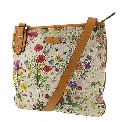GUCCI Floral Canvas Leather Shoulder Bag Camel Beige Vintage Italy Auth #SS569 O