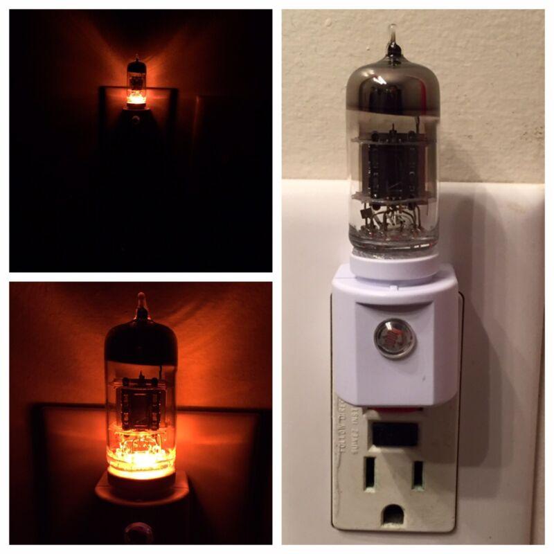 12AX7 Style Amber Glow Vintage Vacuum Tube Valve 120 VAC Plug-In LED Night Light