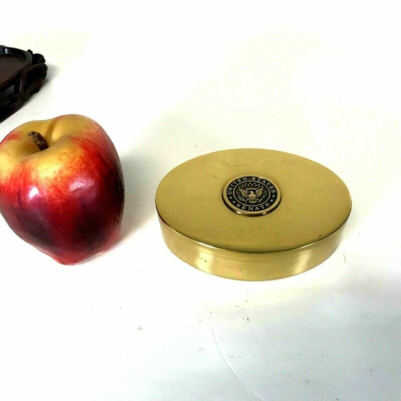 United States Senate Solid Brass Desk Box With Seal Government Memorabilia