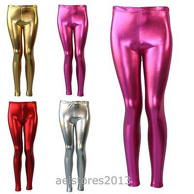 Girls Disco Pants (Shiny Girls Leggings Dance Disco Kids Christmas Color Tight Pants Size 7-13)