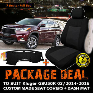 Custom Made Seat Covers 3ROW+ Dash Mat to Suit Toyota Kluger 03/2014-2016 GSU50R