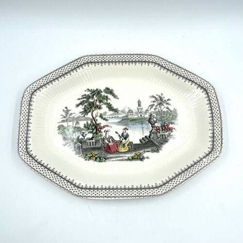 Wm Adams & Sons CLAUDETTE English Ironstone Country Lake Scene Pattern