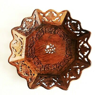Vintage Wooden Wall Decorative Plate Serving Tray Cut Out Edges Archana Handmade