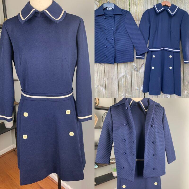 60s Two Piece Butte Knit Suit Dress Blazer Jacket Navy White Women Vintage