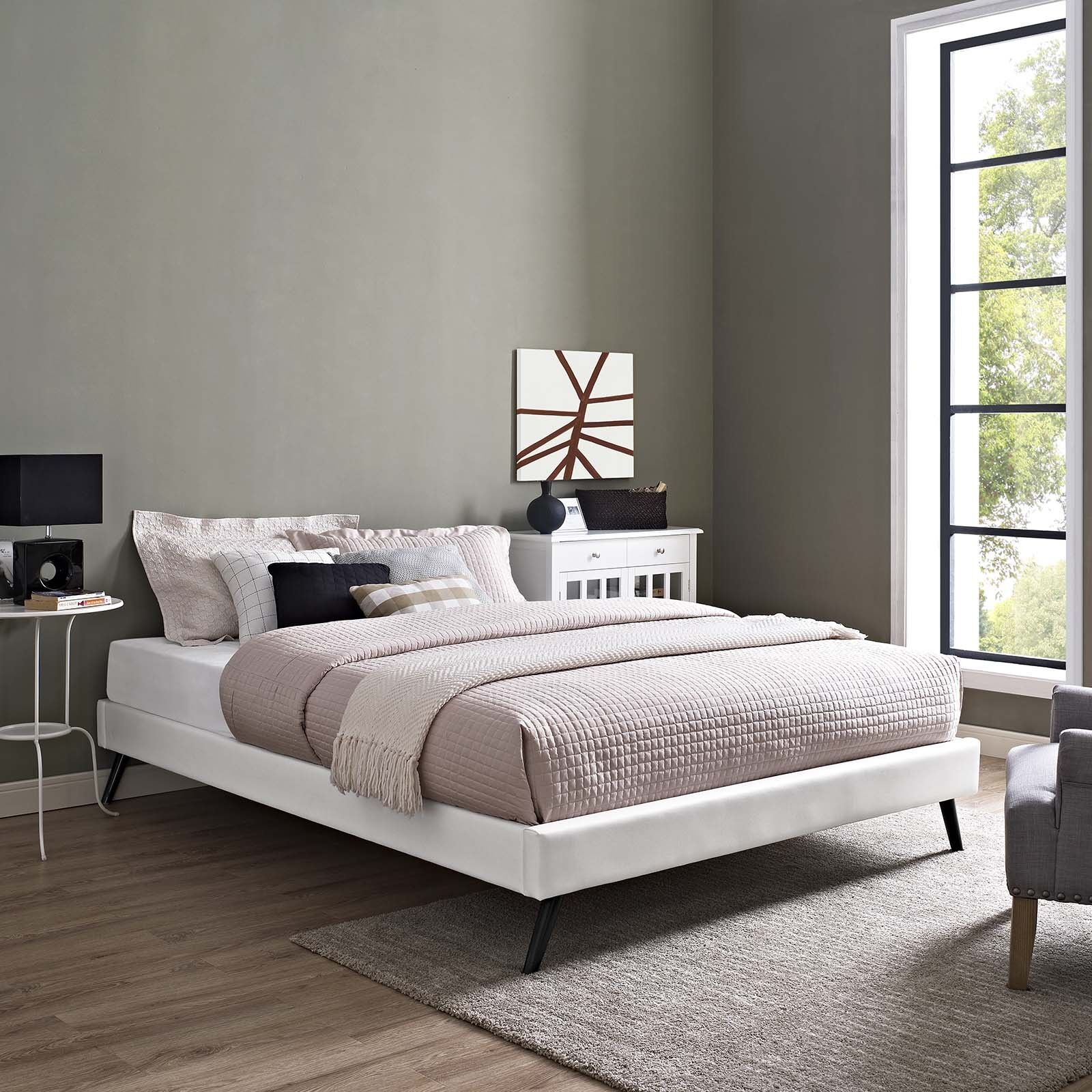 Details About Mid Century Modern Faux Leather Full Platform Bed Frame With Wood Slats In White