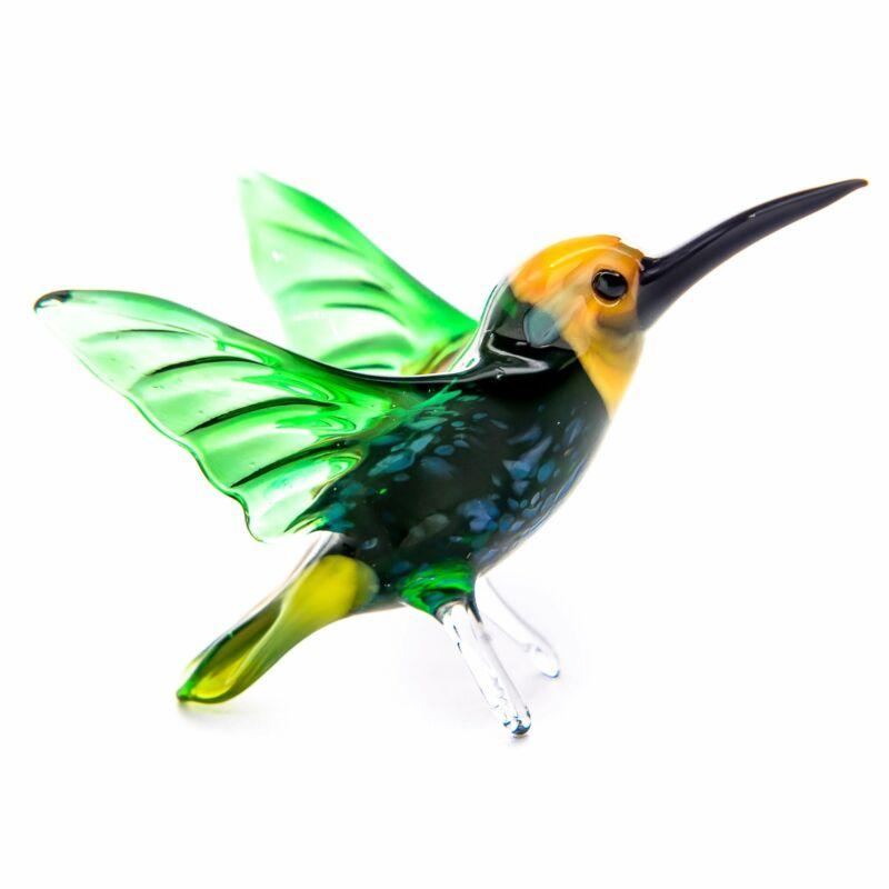"Glass Hummingbird (Colibri) Bird Animal Figurine Handmade Hand Blown Art 2.75"""