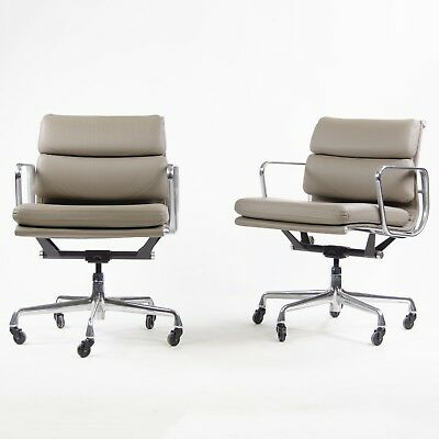 Eames Herman Miller Soft Pad Aluminum Group Chair Gray Leather 2007 2x Avail for sale  Hershey
