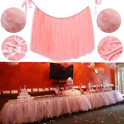 USA XMAS Tulle Tutu Table Skirt Wedding Party Xmas Baby shower Decor Pink GW - Pink Tutu Table Skirt