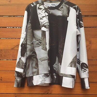 CHRISTOPHER SHANNON Black And White Collage Sweatshirt/Jersey/Shirt, Large