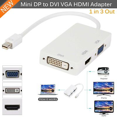 Dvi Dvi Vga Kabel (Mini DP Displayport Thunderbolt Adapterkabel auf DVI VGA HDMI 3in1 für Mac)