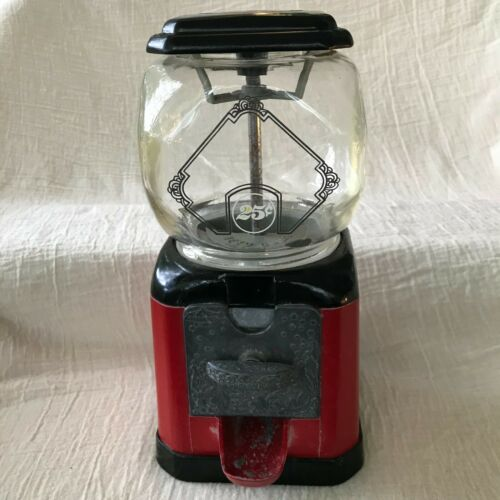 Vintage Metal and Glass Gum Ball Machine, Carousel Leaf No 91 Topper