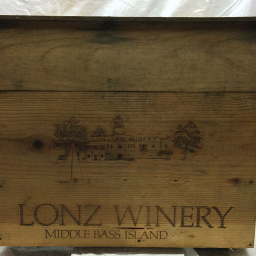 Vintage Wood Lonz Winery Box Middle Bass Ohio Near Put In Bay