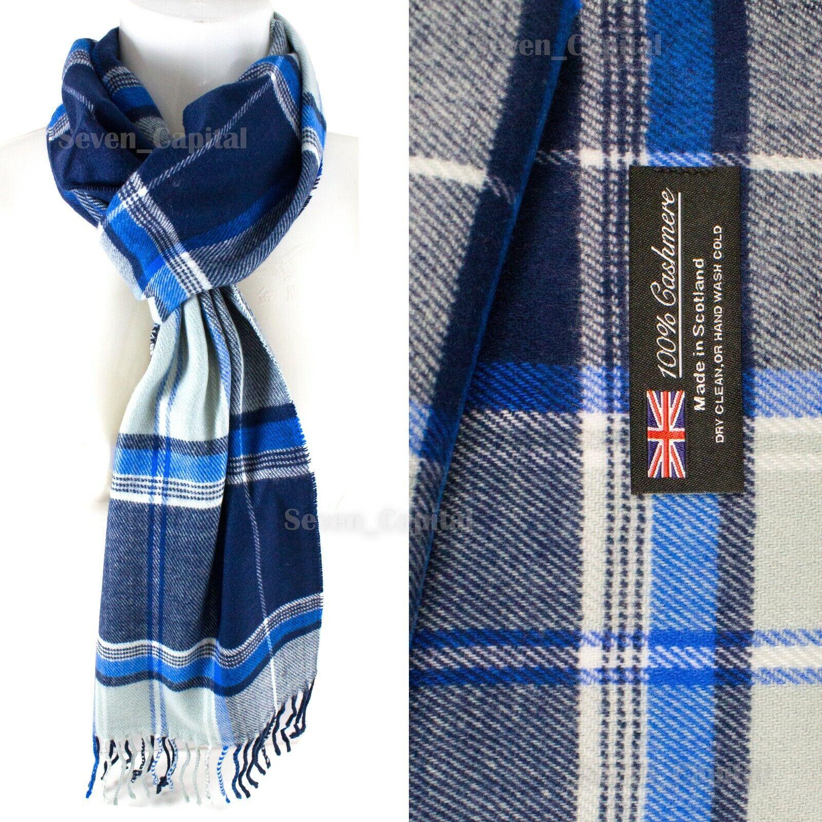 Mens Womens Winter Warm SCOTLAND Made 100% CASHMERE Scarf Scarves Plaid Wool 30. Plaid: Blue/White