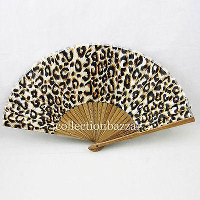 Chinese Leopard Spot  Bamboo Folding Silk HAND FAN Wedding Party Gift  On Sale