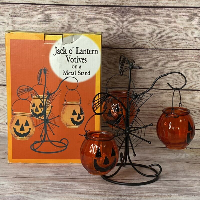 Halloween Jack O Lantern Pumpkin Glass Votive Tealight Candle Holder Metal Stand