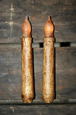 "Set of 2 - LED Burnt Ivory 6"" - 6.5"" Battery Operated Taper Candles NON-TIMER"