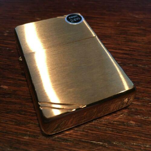 Genuine Zippo brushed brass slashes windproof Lighter CASE ONLY No Insert/Box