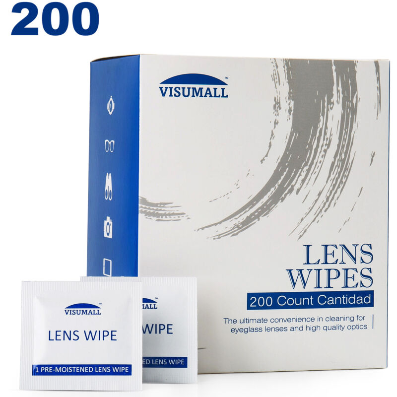 200 Pre-Moistened Lens Cleaning Wipes Easy Glasses Computer Optical Lens Cleaner
