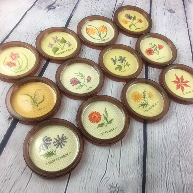 Vintage SET Of 12 Months Of The Year Floral Cross Stitch Coasters