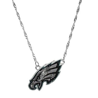 Philadelphia Eagles Crystal Silver Plated Necklace NFL Football Licensed Jewelry Crystal Philadelphia Eagles Football