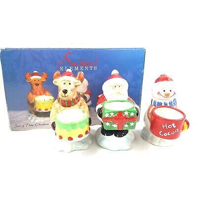 Set Of 3 Christmas Tealight Holders Santa Snowman Reindeer Seasonal Elements Box