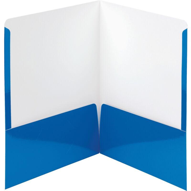 Smead Folders 2-Pocket High Gloss Letter-size 25/BX Blue 87875
