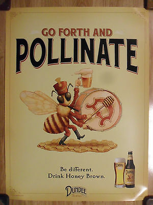 Beer Poster Dundee Honey Brown ~ Go Forth and Pollinate ~ Bee Marching Band Art