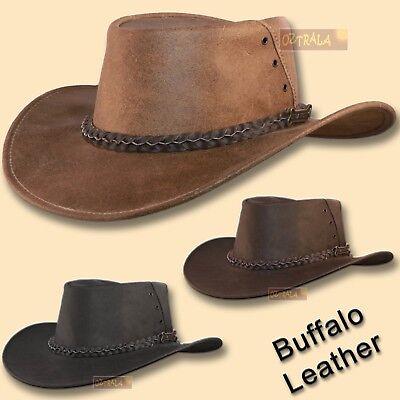 Australian Outback Hats (●oZtrALa● Hat BUFFALO Leather Cowboy Black Mens Womens Kids AUSTRALIAN Outback)