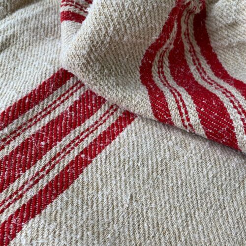 Red  hand woven  grainsack grain sack hand woven linen hemp  textile feed bag