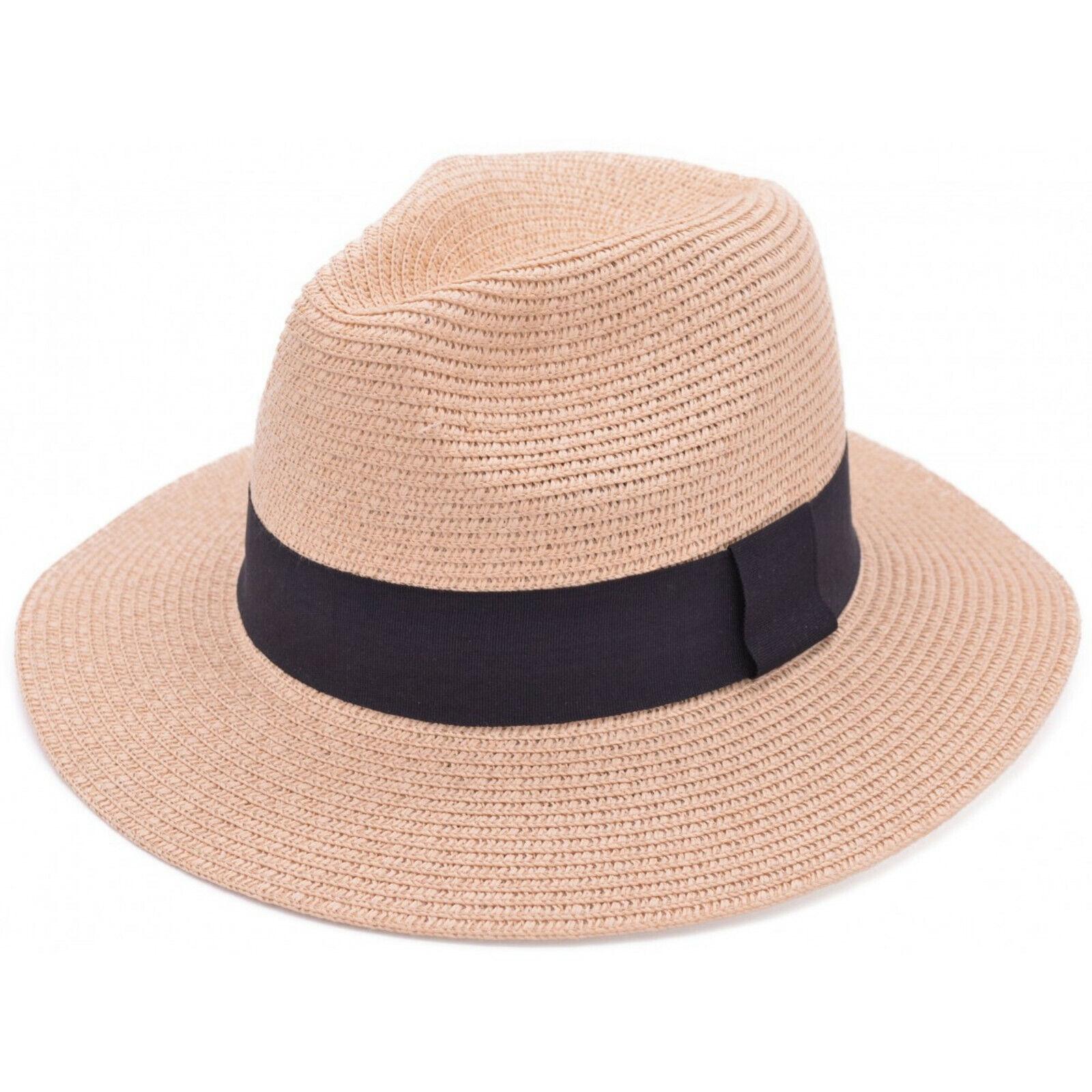 deb7aa65 Mens Ladies Unisex Beige Summer Panama Hat Sun Beach Straw Fedora Trilby