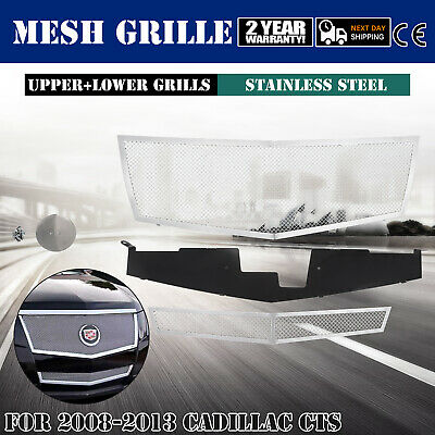 Fit Cadillac CTS Chrome Stainless Steel Mesh Grill Grille Combo Insert 2008-2013