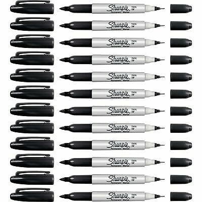 Sharpie Permanent Markers Twin Tip Fineultra Fine Point 12bx Bk 32201bx