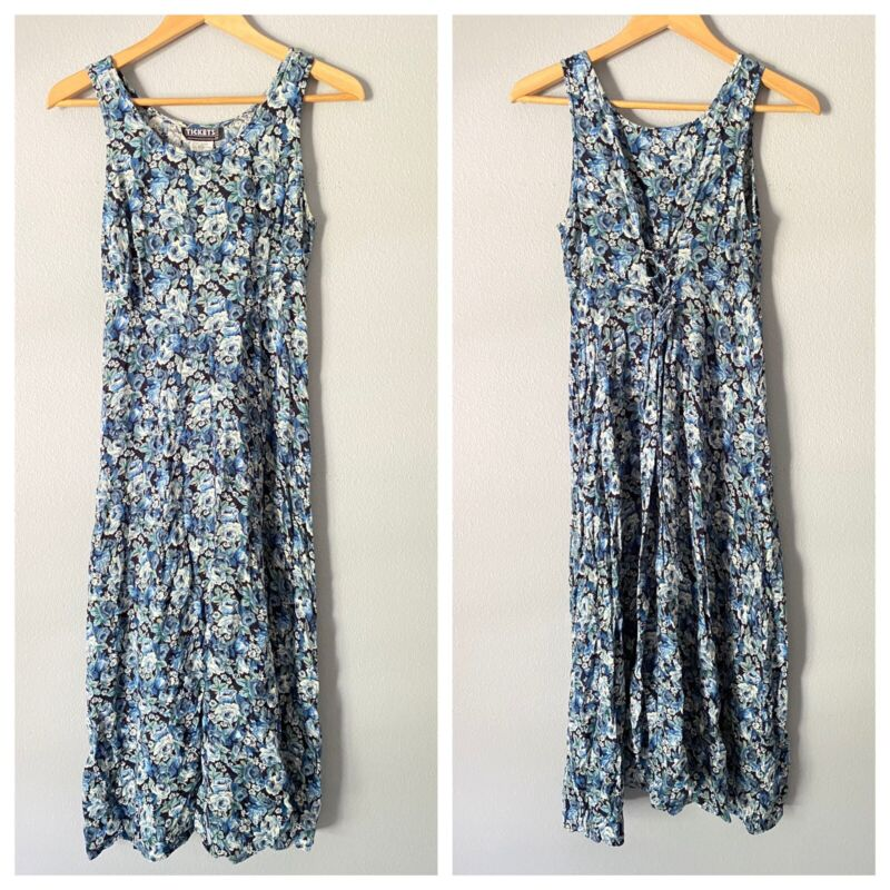 Vintage 90s Tickets Blue Midi / Maxi Dress Floral Grunge Lace Up Back 9/10